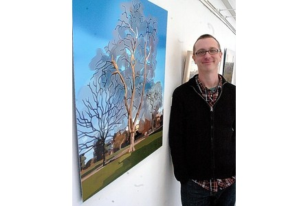 LANDSCAPE EXHIBITION:  Artist Dan Young with his  work at the Gardens Gallery in Montpellier Gardens