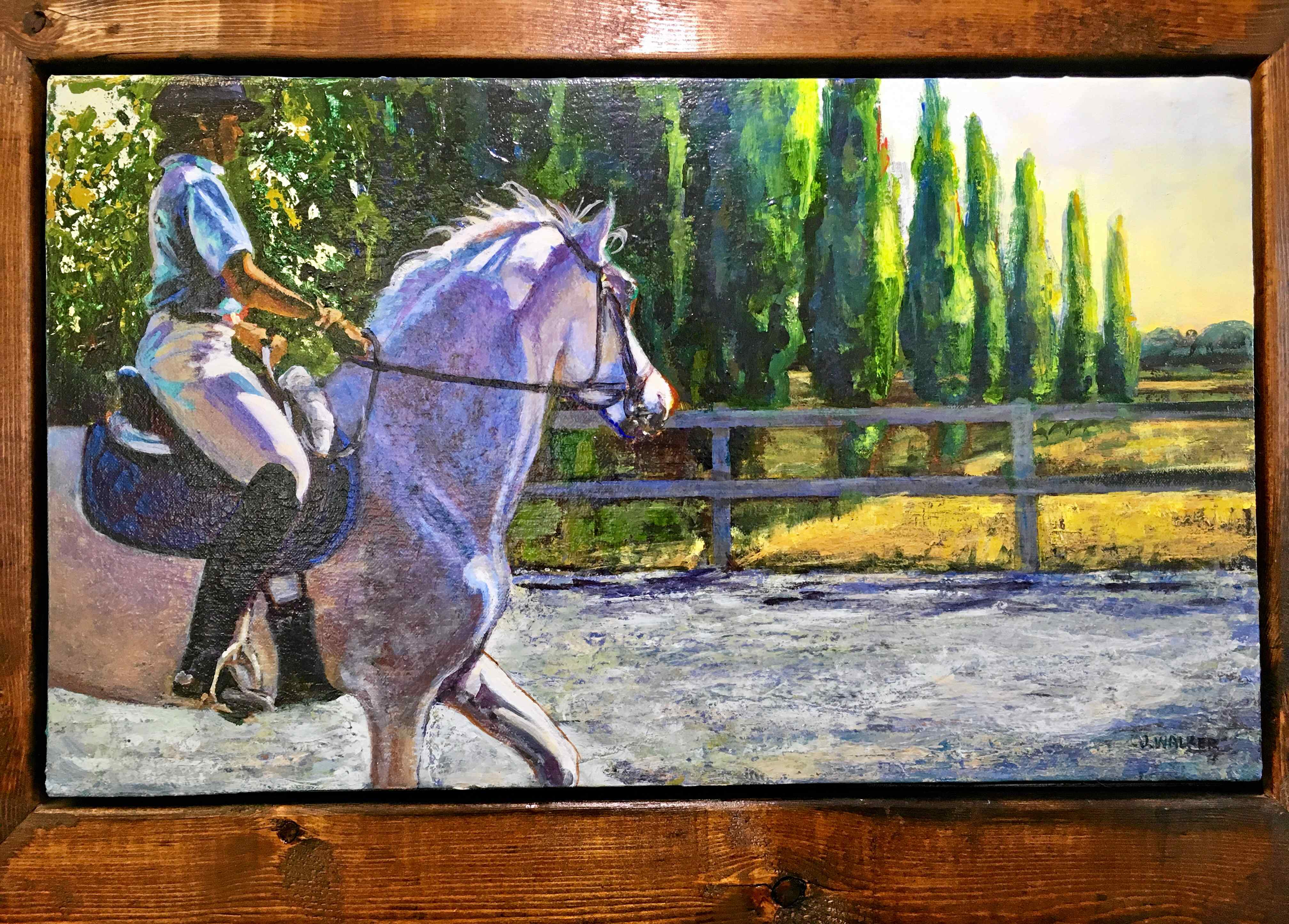"""""""Cheryl  Aladdin"""" is a framed oil painting done by artist Jan Castle Walker now hanging at Studio 94b outside of Woodland."""