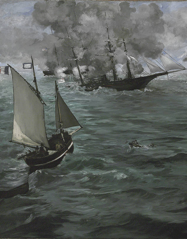 Detail of 'The Battle of the U.S.S. 'Kearsarge' and the C.S.S. 'Alabama'' (1864), by Edouard Manet.