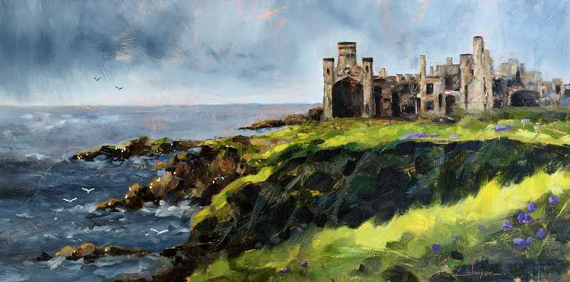 COURTESY: BLAINE JOHNSON - This castle ruin is on the East coast of Scotland, overlooking the North Sea, Johnson said about this piece, titled Forgotten Fortress. The landscape is so stark and unforgiving, but its rugged beauty captured my soul and I had to paint it.