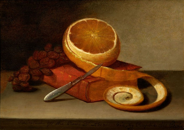 Raphaelle Peale, Orange and Book, c. 1817, oil on canvas
