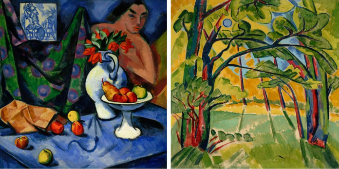 Still Life with Nude, Fruit and Tile by Max Pechstein.