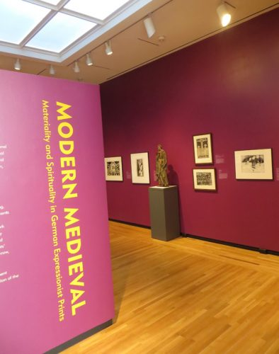 Installation view of the exhibition Modern Medieval... at the Bowdoin College Museum of Art.